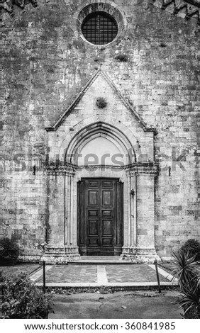 Vintage tuscan church in Montepulciano town, Italy - stock photo