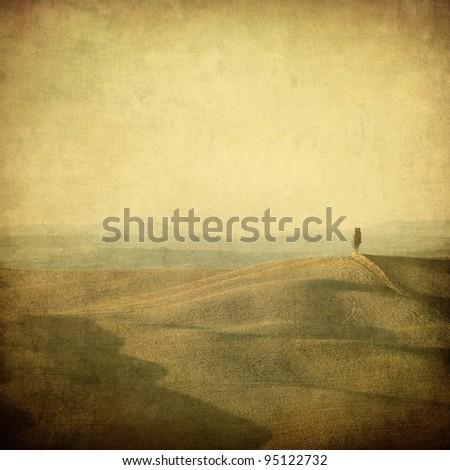vintage tuscan landscape - stock photo