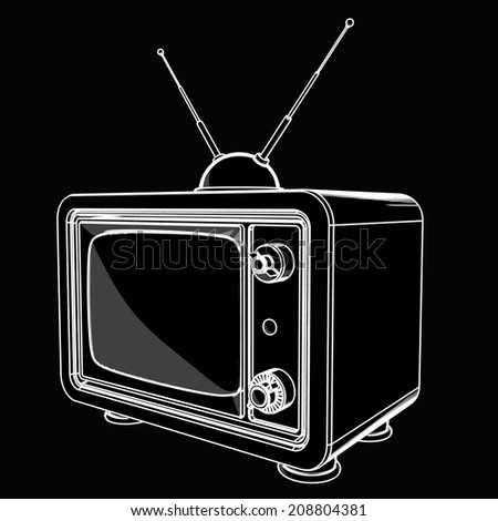vintage TV. black cartoon illustration outline. High resolution  - stock photo