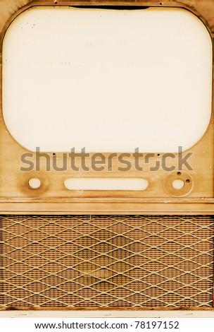 vintage tv cabinet - stock photo
