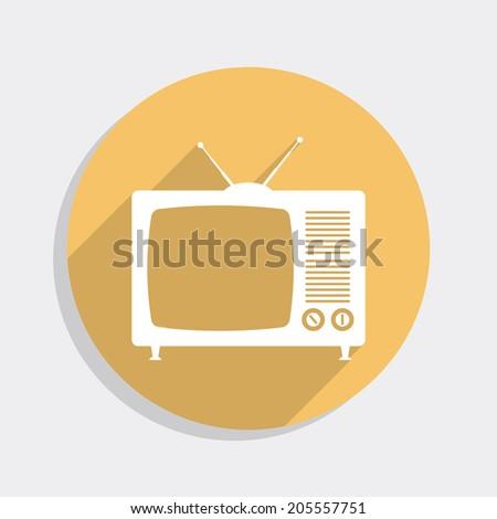 Vintage TV flat icon - stock photo