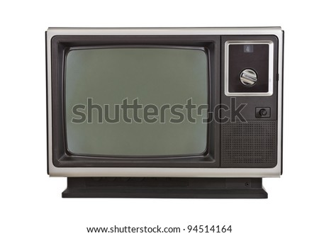 Vintage TV from the 1970's, isolated on white.
