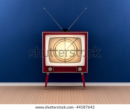 Vintage tv in empty room (3d render) - stock photo