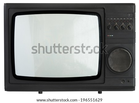 Vintage TV isolated over white. Clipping path included.  - stock photo
