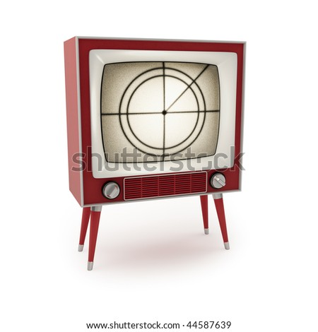 Vintage tv on a white background (3d render) - stock photo