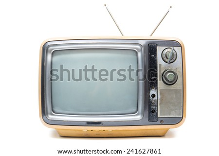 Vintage TV on the isolated white background