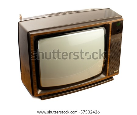 vintage tv on white background - stock photo