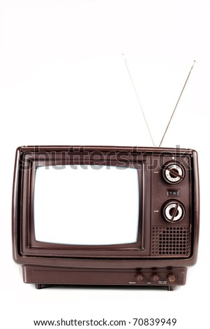 Vintage TV on white background close-up. - stock photo