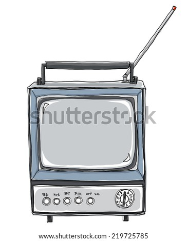 vintage tv painting cute art - stock photo
