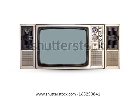 Vintage TV set isolated. Clipping path included. - stock photo