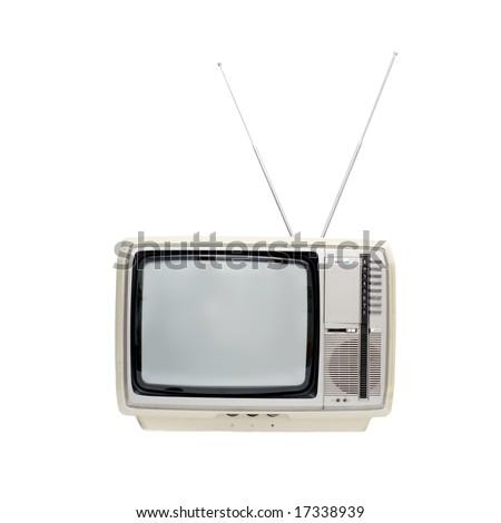 Vintage TV set isolated on white - stock photo
