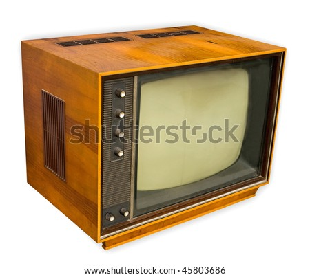 Vintage TV set isolated on white, clipping path included - stock photo