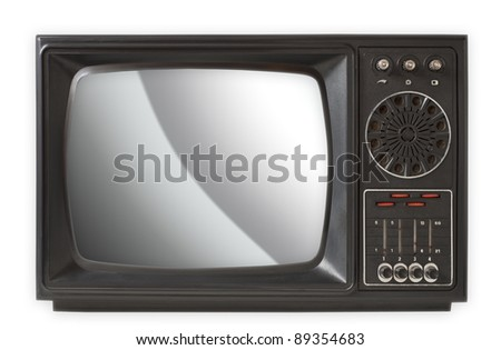 Vintage TV set isolated on white, clipping path included