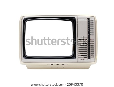Vintage TV set isolated on white with blank white screen - stock photo