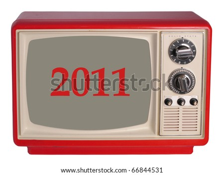 Vintage TV set with a 2011 year - stock photo