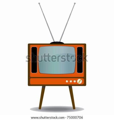 Vintage TV set with an antenna on white background - stock photo