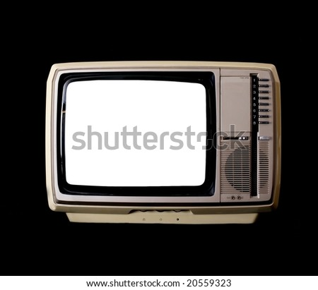 Vintage TV set with blank screen isolated on a black