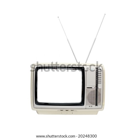 Vintage TV set with blank screen isolated on white - stock photo