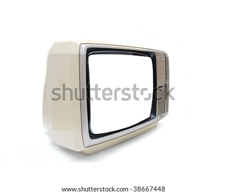 Vintage TV set with blank screen on white background - stock photo