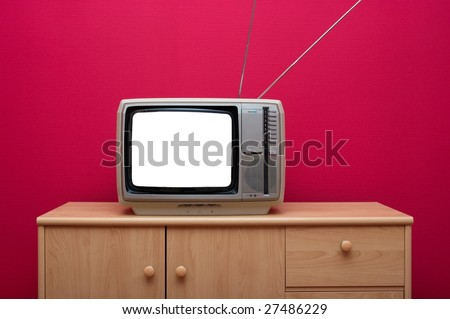 Vintage TV set with blank white screen - stock photo