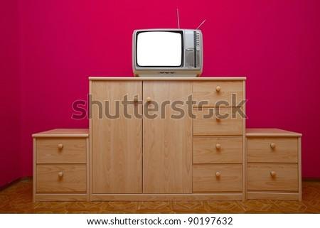 Vintage TV set with white screen - stock photo