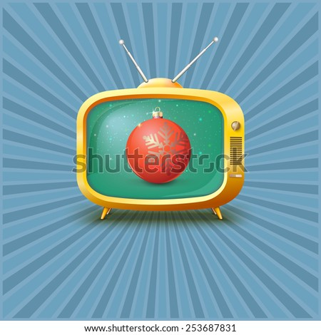 Vintage TV with red Christmas ball,  illustration. - stock photo
