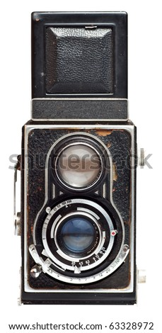 Vintage twin reflex camera isolated on a white background with clipping path - stock photo
