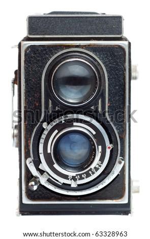 Vintage twin reflex camera on a white background - stock photo