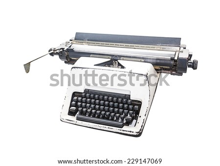 vintage  type writer, Old Thai Land type writer isolated on white , clipping path. - stock photo