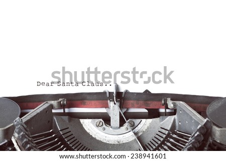 Vintage Typewrite Writing Christmas Letter - stock photo