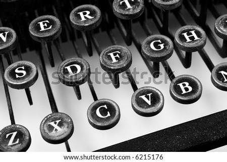 Vintage typewriter -- black and white - stock photo