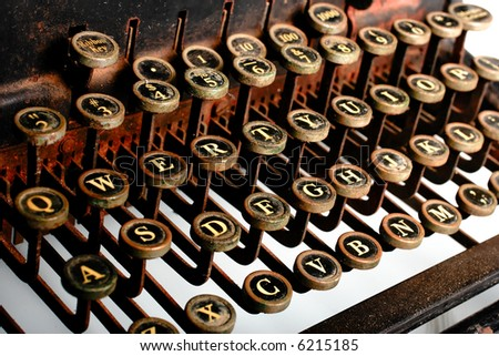 Vintage Typewriter -- high key, rusted - stock photo