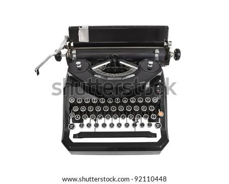 Vintage typewriter isolated on white. - stock photo