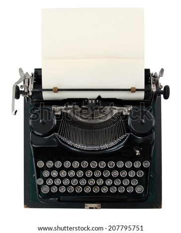 vintage typewriter isolated on white background - stock photo