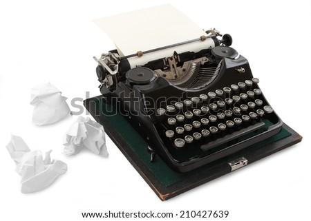 vintage typewriter - isolated on white background - stock photo