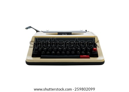 vintage typewriter isolated on white background. with clipping path - stock photo