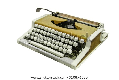 Vintage typewriter isolated, Thai alphabet - stock photo