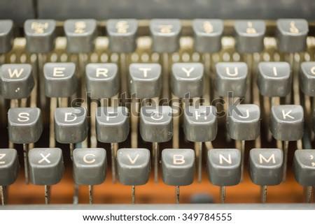 Vintage typewriter keyboard - stock photo