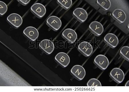 Vintage typewriter keys/Antique Typewriter/Isolated view of a antique typewriter - stock photo