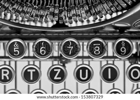 Vintage typewriter keys. Close up - stock photo