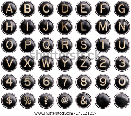 Vintage typewriter keys with natural shine isolated