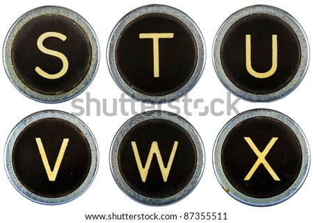 Vintage typewriter letters STUVWX isolated on white