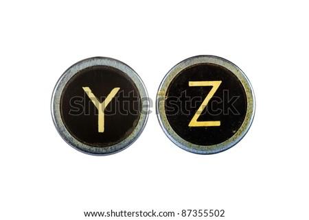 Vintage typewriter letters YZ isolated on white - stock photo