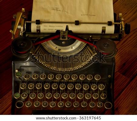 Vintage typewriter message - stock photo