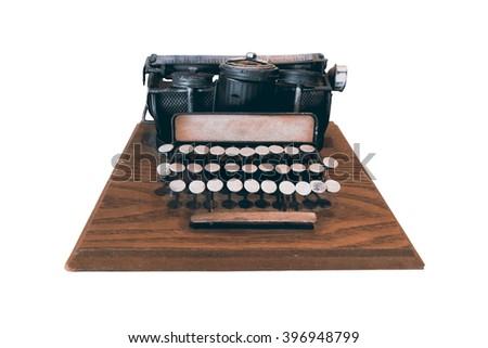 Vintage typewriter mockup on white background. Classic object for make novel story. - stock photo