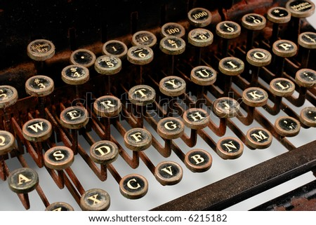 Vintage Typewriter -- most keys, rusted look
