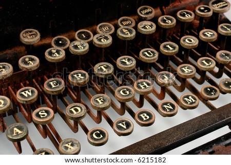 Vintage Typewriter -- most keys, rusted look - stock photo