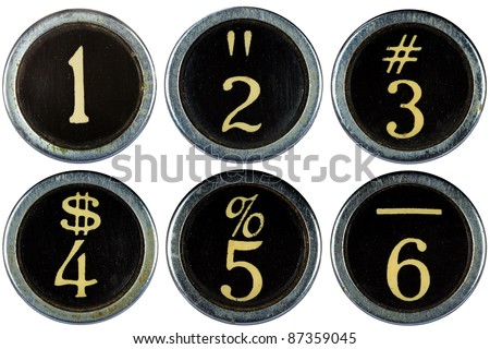 Vintage typewriter numbers 1,2,3,4,5,6 isolated on white