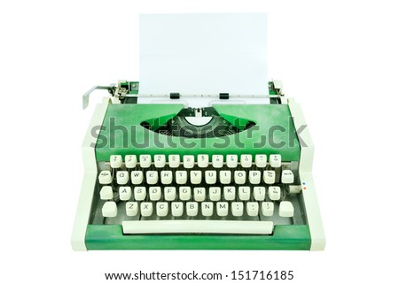 Vintage typewriter with a paper isolated on white - stock photo
