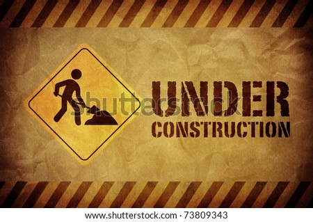 vintage under construction sign - stock photo